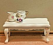 Vintage Shabby Chic Coffee Table And 3 Pitchers Dollhouse 112 Miniature