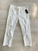 R13 Nwt Womenand039s White Cotton Blend Mid Rise Cropped Boy Straight Jeans Size 27