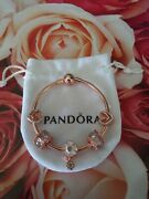 Authentic Pandora Rose Bracelet With Rose Gold Colored European Charms