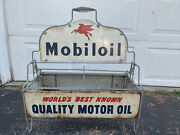 Rare Vintage Mobil Oil Bottle Can Carrying Rack Display Sign.