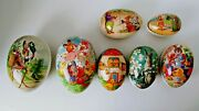 Vintage Paper Mache Nester Easter Eggs Candy Containers Lot Of 7 Made Germany