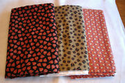 Halloween Fabric 3-1/2 Yds Pumpkin, Cat And Owl Vintage Quality Cotton Flannel