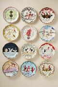 Set 12 Brand New Inslee Fariss 12 Days Of Christmas Plates Anthropologie