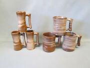 Frankoma Art Pottery Lot 6 Brown Satin C3 And 26dc Coffee Mugs Cups Vintage