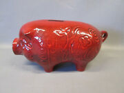 California Pottery Pig Piggy Coin Bank Corked Burgundy Red F-48 Design Decorated