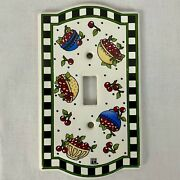Mary Engelbreit Ceramic Light Switch Plate Cover Bowl Of Cherries 1994