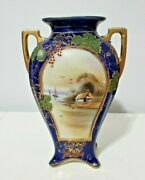 Antique Nippon Japan Hand-painted Vase Cobalt Blue And Gold 9.75andrdquo
