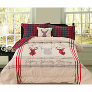 🎄 Holiday Christmas Plaid Camping Forest Cabin 4 Pcs King Queen Comforter Set