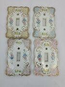 4 Vintage Lefton Floral Flowers And Rhinestones Porcelain Light Switch Covers