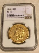 1863-s 20 Ngc Xf45 Liberty Double Eagle Gold Coin Civil War Eyeclean No Pcgs
