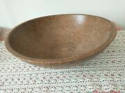 Antique Primitive 1800s New England 15 Hand Turned Wood Dough Bowl Out Of Round