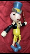 1938 Ideal Toy Co. Jiminy Cricket Wooden Jointed Doll Walt Disney Co Foot Decal