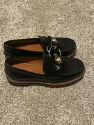 Coach Black Leather, Lenox Loafers Woman's Size 5 With Gold Detail