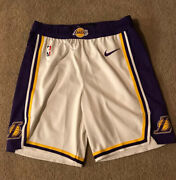 Lakers Shorts Team Issued Authentic White Size 40r Nike Pro Cut