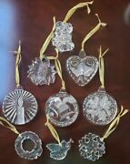 Gorham And Mikasa Crystal Christmas Ornament Lot Of 9 Perfect