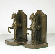 Antique C1930s K And O Horse Bookends Equestrian Horsemanship Stable Signed Metal