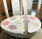 Longaberger 2009 Easter Egg Basket Painted Lid Cloth And Plastic Liners Large