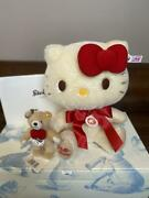 Steiff Hello Kittey Japan Limited Edition Teddy Bear And Key Ring Single Number Nm