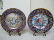 19th C. Italian Majolican Hand Painted Plates Pair Each Different- Excel.
