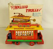 Modern Toys 3754 Vintage Battery Operated Tin Litho Tinkling Trolley-mib