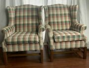 Pair Of Vintage Ethan Allen Plaid Wingback Chairs Traditional Rust Green