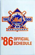 New York Mets 1986 Pocket Schedule World Series Champs 25th Anniversary