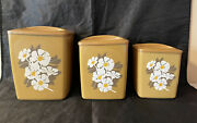 Vintage Retro 1970s 3 Pc Mustard Yellow Daisy Floral Plastic Canister Set