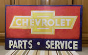 Chevrolet Parts Service Sign Chevy Vintage Style Wall Decor Tools Gas Oil Canvas
