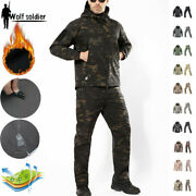 Waterproof Tactical Soft Shell Mens Jacket Pants Army Suits Military Windbreaker
