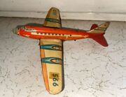Old Vintage Tin Friction Powered Plane Toy From Western Germany 1950