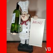 19in Tall Countertop Chef With Menu Board Wine Bottle Holder Statue Sculpture...