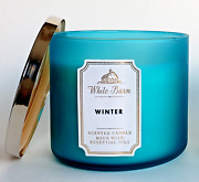 Clearance Blowout Sale Winter 3-wick Candle Turquoise Glass White Barn Bbw