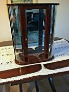 Bombay Wood Curved Glass Curio Display Case Table Top Wall Mirror Shelf Cabinet
