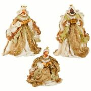 Raz Set 15 Gold Crown Robed 3 Wise Men Gifts Nativity Christmas Figurines Dolls