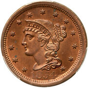 1854 N-17 Pcgs Ms 63 Rb Cac Tcc5 Finest Eds Braided Hair Large Cent Coin 1c