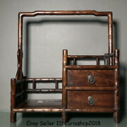20 Old Chinese Dynasty Huanghuali Wood Carving 2 Drawer Stand Shelf Furniture