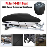 1andtimesmarine Boat Cover Trailerable 420d Oxford Waterproof Washable For 14-16ft Boat