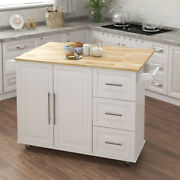 Rolling Kitchen Island Wheels Large 3 Drawers Serving Cart Trolley Cabinet White