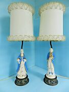 Antique Pair Lady And Gentleman Victorian Lamps 1900and039s W/orig Lamp Shades Nice