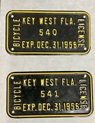 Vintage Sequential Key West Florida Bicycle License Plates Tag 540 541