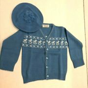 Buffumand039s California Vintage Infant Blue Rocking Horse Knit Sweater And Cap E1325