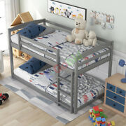 Twin Over Twin Floor Bunk Bed With Ladder, Space-saving Design