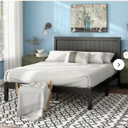 Queen Size Bed Frame Platform Black Wooden Modern Farmhouse Country Mid Century