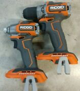 New Ridgid 18v Sub Compact 1/2 Drill And Impact Driver R8701 And R8723 Bare Tools