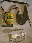 Muzzleloader Accessories Including Powder Horn Shot Pouch And Black Powder Guide