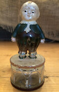 Happy Fat Antique Glass Candy Container Bank-boy Standing On Glass Drum