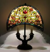 Stained Glass Lamp. Crescent Moon Shade W/ Cabochons. 2 Socket Bouillotte Base.