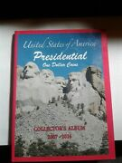 America Presidential One Dollar Coin Collectors Album And Coins.