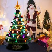 15 Pre-lit Hand-painted Ceramic Tabletop Christmas Tree Battery Powered Decor