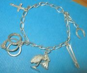 Vintage Sterling Silver Moveable Stork With Baby Rings Bracelet Small Wrists Qvc